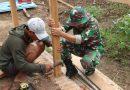Wujudkan Impian Warga Perbatasan, Satgas Yonif MR 411/Pdw Bantu Bangun Rumah.