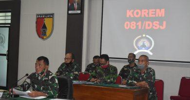 Terima Arahan Panglima TNI Tentang Penanganan Covid 19, Danrem 081/DSJ Berharap Peran Serta Masyarakat