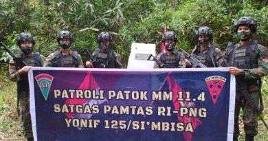 Prajurit Satgas Yonif 125/Simbisa Gelar Patroli Patok Batas Negara RI-PNG