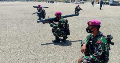 Prajurit Yonmarhanlan VII Gelar Latihan Pertahanan Pangkalan di Mako Lantamal VII