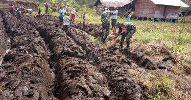 TNI Manunggal dengan Rakyat, Babinsa Kodim 1703/Deiyai Bantu Warga Binaan Siapkan Lahan Pertanian
