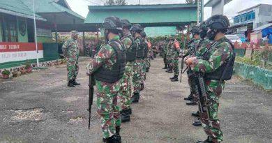 Antisipasi Perkembangan  Kewilayahan  Koramil 1703-02/Waghete dan Zat Gas Timsus Raider 500/Sikatan Laksanakan Apel Siaga