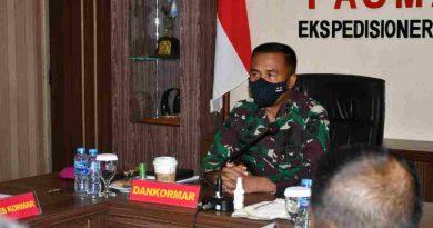 Dankormar Hadiri Vicon Panglima TNI Tentang Pelaksanaan Percepatan Vaksinasi Lingkungan TNI