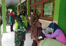 Babinsa Koramil 0806/08 Karangan Dampingi Vaksinasi Bagi Pelajar SMPN