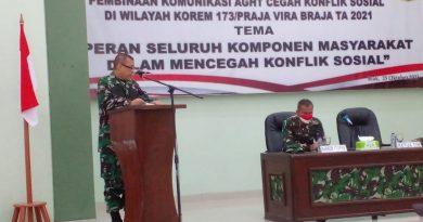 Cegah Konflik Sosial, Korem 173/PVB Gelar Sosialisasi Binkom AGHT Cegah Konflik Sosial