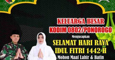 Komandan Kodim 0802/Ponorogo Mengucapkan : Selamat Hari Raya Idul Fitri 1442 H / 2021 M