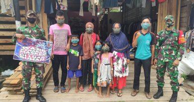 Prajurit TNI Yonif 642 Laksanakan Penerapan Prokes dan Kampanye Pencegahan Covid-19