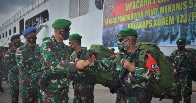 Kasiops Kasrem 173/PVB Pimpin Upacara Penyambutan Satgas Pamrahwan Yonif Mekanis 521/DY